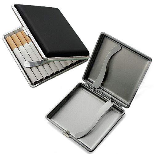 2 X Zigarettenetui Schwarz aus hochwertigem Metall/PU Leder, Etui mit Schnappverschluss,Leder Metall Zigarettenetui für 20 Zigaretten