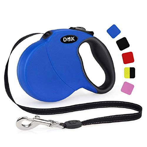 DDOXX Roll-Leine reflektierend, ausziehbar | viele Farben & Größen | für kleine & große Hunde | Gurt-Leine Hundeleine einziehbar Welpe Katze | Hundeleinen Zubehör Hund | M, 5 m, bis 20 kg, Blau