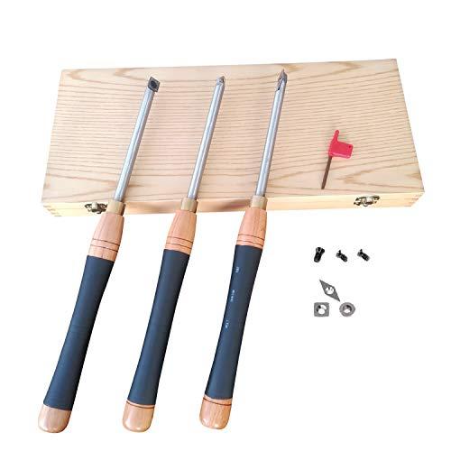 "3 Piece Carbide Woodturning Tools, 16.2"" Large Wood Lathe Tools"