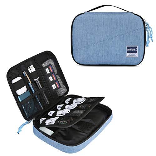 bagsmart Elektronik Tasche Organizer Reise Tasche Elektronische Tasche Doppelschichte für Handy Ladekabel, Kabel, Festplatte, USB Sticks, SD Karten (Hellblau)