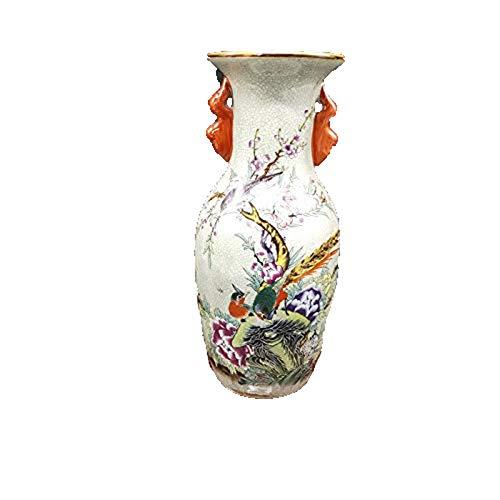 Fashion158 Qianlong Vase mit Blumen und Vögeln, offene Risse, Keramik, Dekoration