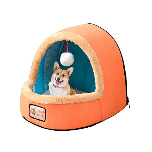 RONSHIN New for Mini Ger Shape Warm Pet Plush Nest Tent with Haning Ball for Cats Dogs Orange M