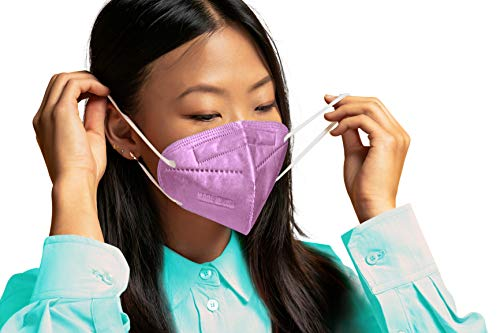 5 Layer Disposable Face Mask for Teens & Adults in Lavender   5-Pack USA Made Purple Disposable Face Masks with Adjustable Nose Wire & Soft Ear Loops