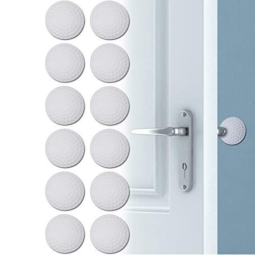 Door Stopper Wall, Door Knob Wall Protector, 12Pack Silicone Self-Adhesive Wall Shield Door Bumper for Cabinets, Furniture, Refrigerator(White, 2inch x 2 inch x 0.5inch)