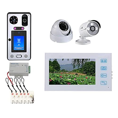 BJH Timbre de Video, Desbloqueo de contraseña de Huellas Dactilares de reconocimiento Facial, Videoportero, Intercomunicador, Cámara RFID + 7 Pulgadas + Tarjeta IC + Cámara de Seguridad de 2 Can