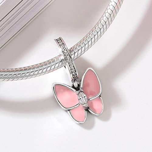 ZYYDXK 925 Sterling Silber Charm Tanzen Schmetterling Perlen Anhänger Damen Accessoires Trendy Fit Original Charm Armband Schmuck
