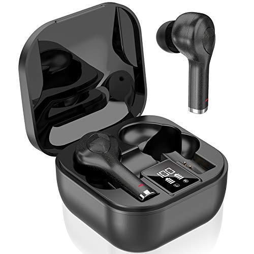 LYCHL Auriculares Inalámbricos, Auriculares Bluetooth 5.0 TWS Sonido Estéreo, Auriculares con Microfono IP7 Deportivos, Carga Rápida USB-C, Estuche de Carga Ligero, 40H Playtime, Pantalla LED, Negro
