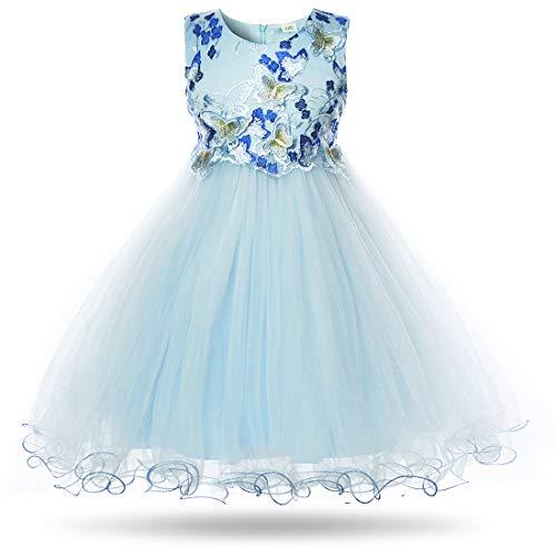 CIELARKO Mädchen Kleid Schmetterling Prinzessin Hochzeit Festkleid Kleider Ärmellos (4-5 Jahre (Herstellergröße: 120) , Blau)