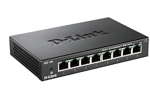 Oferta de D-Link DES-108 – Switch de Red con 8 Puertos LAN Fast Ethernet 10/100 Mbps RJ-45, no gestionable Layer 2, Carcasa metálica, Negro