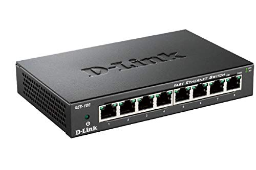 D-Link DES-108 Layer2 Fast Ethernet Switch Metaal, 8 Poorts zwart