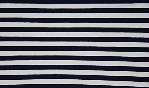 Qualitativ hochwertiger Jersey Stoff Blau/Weiß breit gestreift als Meterware zum Nähen von Baby, Kinder- und Damenkleidung, 50 cm