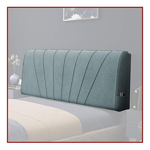Headboard Pillow Cushion, Washable Reading Relaxing Large Bolster High Resilience Sponge Latex Filling For Hotel, Daybed Bed, 2 Specifications QianDa (Color : A-blue, Size : 180x58x11cm)