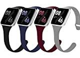 4 Pack Slim Silicone Band Compatible with Watch 42mm 44mm Bands, Thin Skinny Sport Wristband Strap Women Men for Watch Series SE/6/5/4/3/2/1 (Black/Grey/Midnight Blue/Wine Red,42mm44mm)