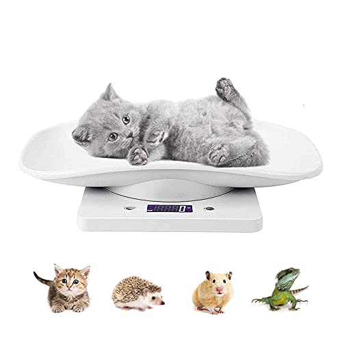 Pet Digital Scale Kitchen Weight Scale, Puppies and Kitten Scale Measures Small Animals with 22 lb/10 kg, Multi-Function Portable Electronic Scale Digital Weight