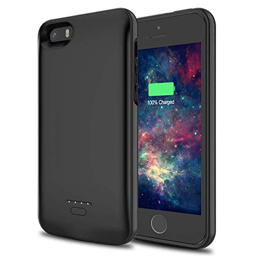 Funda Batería iPhone SE / 5 / 5S, Fancartuk 4700mAh Carcasa Bateria Externa Recargable Protector portátil Carga caso de prueba de choque para iPhone SE / 5 / 5S (Negrol)