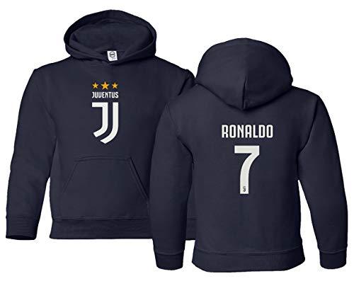Spark Apparel Fußballshirt #7 Cristiano Ronaldo CR7 Jungen Mädchen Jugend Kapuzen-Sweatshirt, Navy, Jugend Small