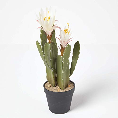 Homescapes Künstlicher Kaktus mit weißem Blüten in schwarzem Topf, 41 cm hoch