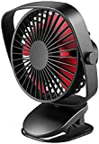VersionTECH. Clip on Stroller Fan, Mini Personal Desk Fan with USB Rechargeable Battery Operated and 360° Rotation for Home Room Baby Bed Office Car Outdoor (Black)