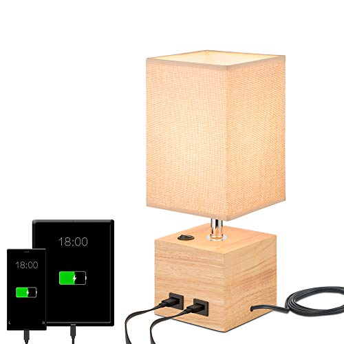 Table Desk Lamp, Beige Lien Shade Bedside Nightstand Lamp with 2 USB Charging Port, Solid Wood Lamp Base for Bedroom,Office, Living Room