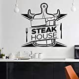 AQjept Etiqueta de la Pared de Steak House, carnicería, carnicería, Carne, Comida, Tenedor, Cuchillo, Vinilo, Etiqueta de la Pared, decoración de cocina76x80cm
