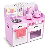 COSTWAY Kinderküche mit Holzkochgeschir, Spielküche mit Geschirrtuchhalter und Handtuch, Kinderspielküche rosa, Spielzeugküche für Kleinkinder, 60x29,5x62cm