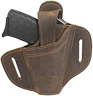 Barsony New Ambidextrous Brown Leather Pancake Holster for 380 Ultra Compact 9mm 40 45