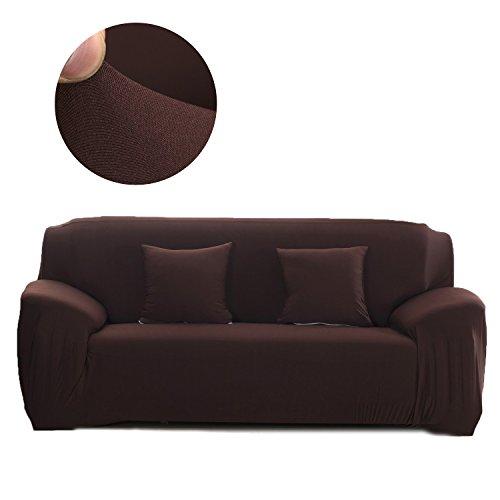 Cornasee Funda de sofá Elastica 3 plazas,Cubierta para sofá con Cuerda de fijación,Café