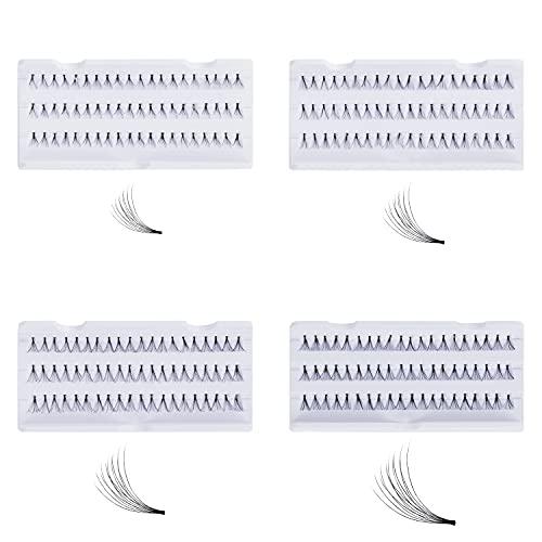 Kurtzy Kit Extensiones de Pestañas Postizas Individuales (Pack de 4) 8, 10, 12 y 14 mm de Largo – Grupos Kit de Pestañas Premium Corto y Largo para Rizar, Largo, Volumen, Grosor – Dramático y Natural