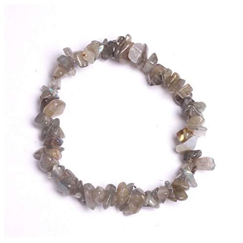 YIKOUQI Pulsera de Chip de Cristal a la Moda para Mujeres y niñas, Cuerda elástica Irregular de Piedra Natural, brazaletes con dijes, Pulsera, joyería