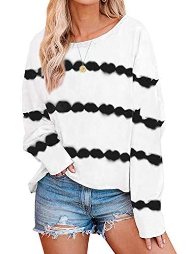 Camiseta de Manga Larga con Estampado de patrón de Rayas a la Moda para Mujer con Cuello Redondo y Sudaderas Sueltas de Talla Grande