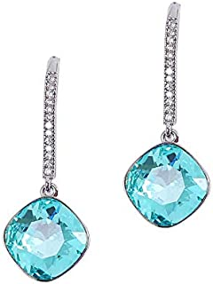 MOONSTONE Elegant Sterling Silver Diagonal Cushion Cut With Pave Crystal AB Swarovski Elements Drop Fashion Earrings For Women