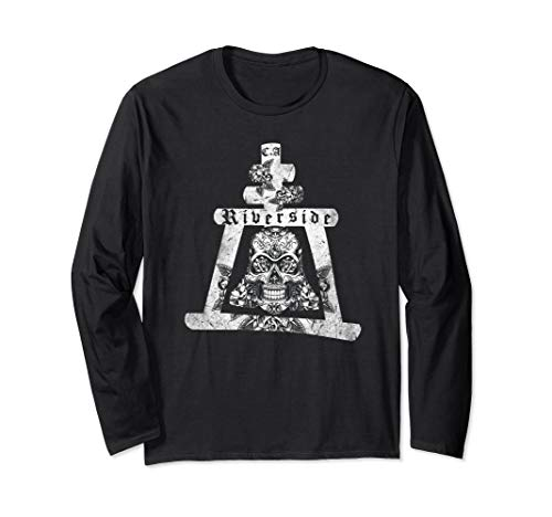 Riverside California Mission Bell Skull Long Sleeve T-Shirt