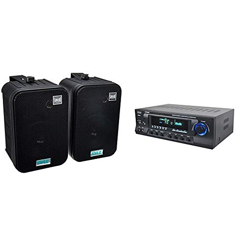 Dual Waterproof Outdoor Speaker System - 6.5 Inch Pair of Weatherproof Wall - Pyle PDWR50B & Wireless Bluetooth Audio Power Amplifier - 300W 4 Channel Home Theater Sound Compact Stereo Receiver