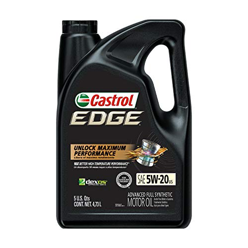 Castrol 03083 Edge 5W-20 Advanced Full Synthetic Motor Oil, 5 Quart