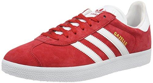 adidas Gazelle, Scarpe da Ginnastica Basse Uomo, Rosso (Scarlet/Ftwr White/Gold Met.), 36 2/3 EU