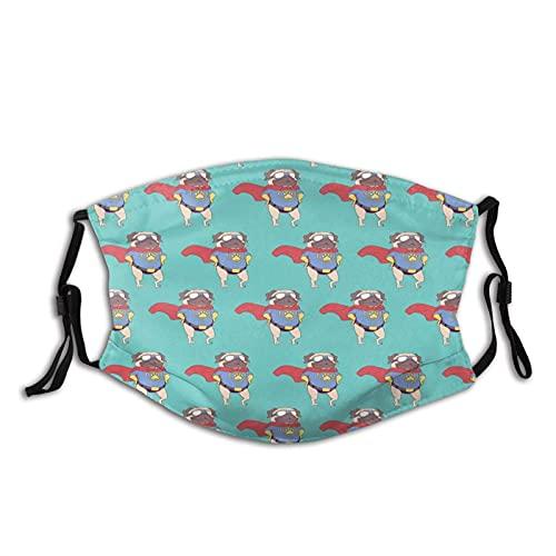 Super Pug con manto de pata divertido cachorro perro gafas de sol cara M-A-S-K lavable Bandana para adultos hombres mujeres