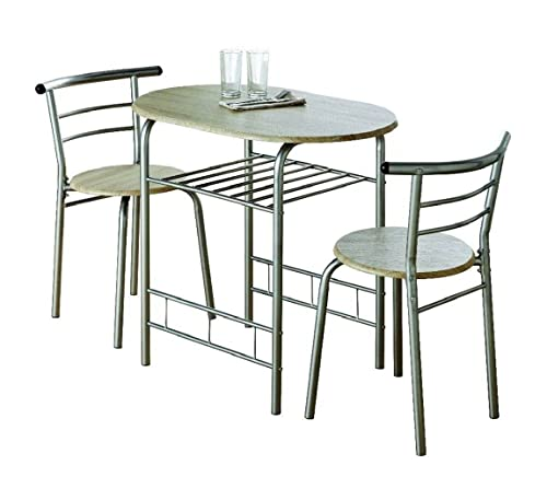 0076-Modern Oak Dining Table and 2 Chairs Set Metal Frame Kitchen