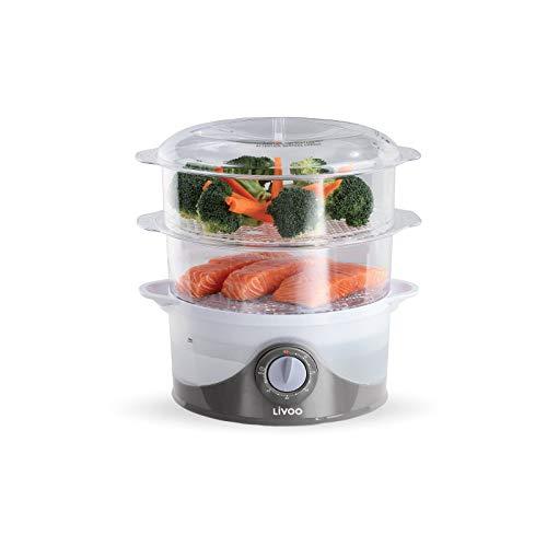 Dampfgarer Elektrisch 800 Watt - Reiskocher 6 Liter mit Timer - Schongarer 2 Behälter - Slow Cooker 2 Etagen - Elektrischer Dampftopf mit Wasserstandsanzeige