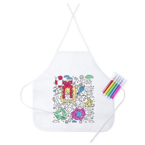 Pack de 20 Delantal cocina para niños- ideal para complemento de material escolar en los talleres de cocina-delantal para niños-delantales blancos para colorear- 5 rotuladores de regalo