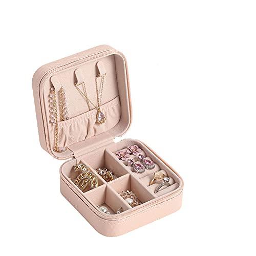 ZYCW Caja Joyero Pequeña,Portátil Joyero Viaje Cajas para Joyas Jewelry Organizer para Mujer, para Anillos, Aretes, Pendientes, Pulseras y Collares (Pink)