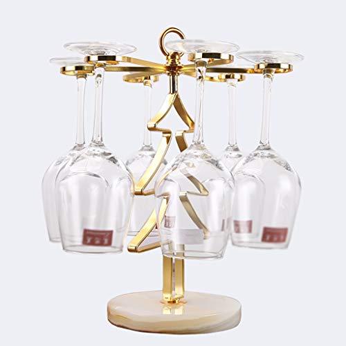 ZYFJJ Soportes para Copas Titular de Vino de Cristal/Rack - 6 Vasos - Pantalla/Sirviendo for Bar/Alojamiento Comer Pieza Central / / - Moda Creativa árbol de Navidad Diseño Forma (Color : Gold)