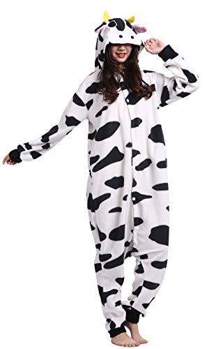 DELEY Unisex Adultos Enterizo de Pijamas Vacas Ropa de Dormir con Capucha de Cosplay de Anime Carnaval Halloween