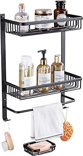 lidun Estantería de ducha de aleación de aluminio de alta calidad, montaje en pared, cesta de ducha organizadora con adhesivo, sin agujeros, estantería de almacenamiento para baño, ducha, cocina (04)
