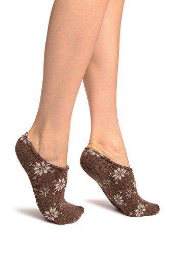 LissKiss White Snowflakes On Brown Angora Footies Socks - Braun Socken Einheitsgroesse (37-42)