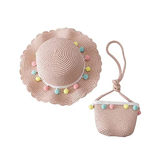 LISI Sombrero de Paja Niñas con Bola Pequeña Decoración Bolso Set para 4-8 Años Niño Verano Viaje Playa Piscina Accesorios