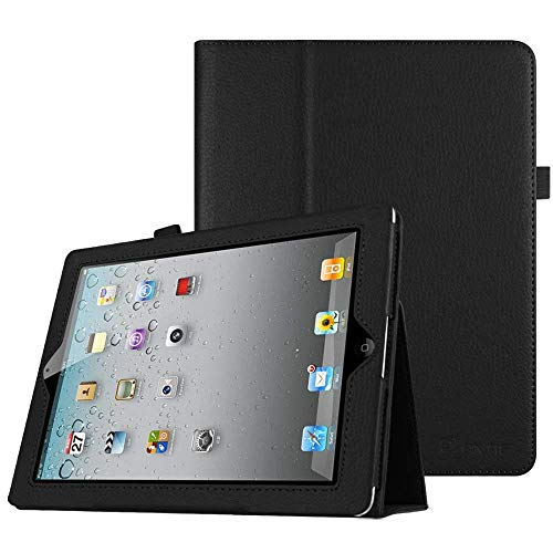 Fintie Apple iPad 4 / iPad 3 / iPad 2 Custodia in pelle, Slim Fit Folio Case Cover Con Funzione Sleep/Wake per Apple iPad 2 / iPad 3 / iPad 4, Nero