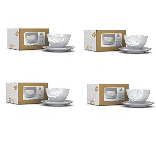 Fiftyeight 4er Tassen-Set GRINSEND & KÜSSEND & GLÜCKLICH & KÜSSEND + 1 Packung Design Servietten