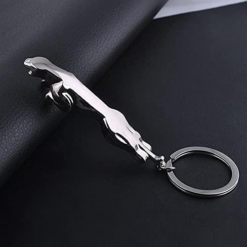 YCHH Klassische Silberne Farbe Edelstahl Leopard Keychain Jaguar Auto Keyringe Thin Bag Schlüsselanhänger Zwei Arten Kreativen Schmuck (Color : 1, Size : About 10.0cm)