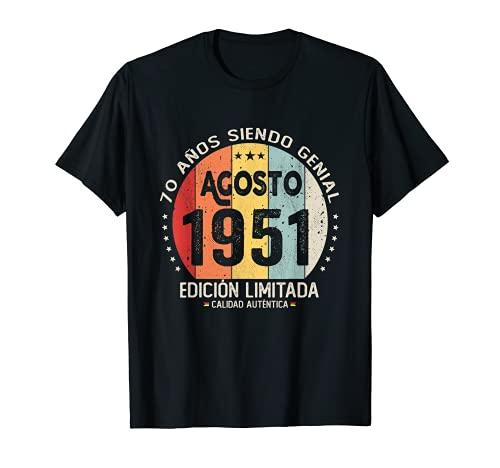 Regalo 70 años Cumpleaños Hombre Mujer - Agosto 1951 Camiseta