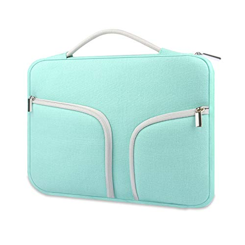 HESTECH Chromebook Case,11.6-12.3 inch Canvas Laptop Sleeve Bag Handle Front Pockets Compatible with Acer Dell HP Samsung Toshiba ASUS C202 L210/Microsoft Surface Pro 7/3/4/5/6/,Green